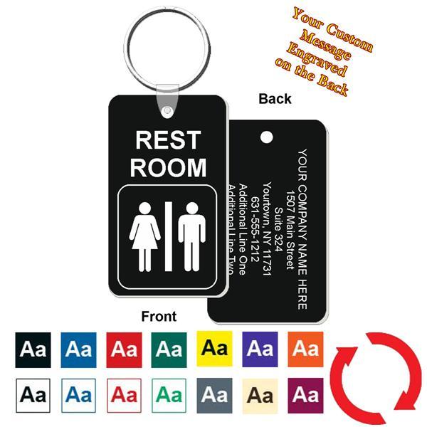 Custom Back Restroom / Bathroom Key Tag - Engraved Mini 1 ...