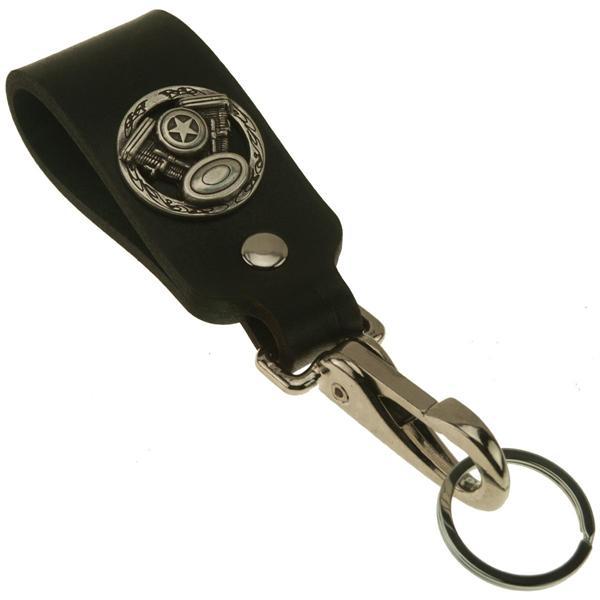 Twin V Motorcycle Wide Leather Belt Strap Key Holder