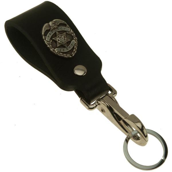 badge wide leather belt key holder