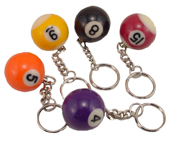 Miniature Replica Billiard Ball Keychain With Key Ring