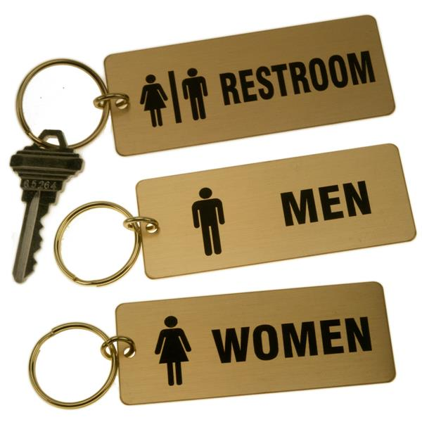 Bathroom Key Sign lacquered brass rectangle key tag for bathrooms large