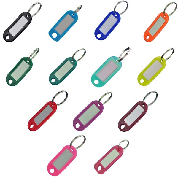 Key tags with metal split rings Vehicle plastic key tags 200 In 5 different colours Blue